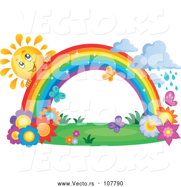 Vector of Happy Sun Character Behind a Rainbow over Flowers, with Rain