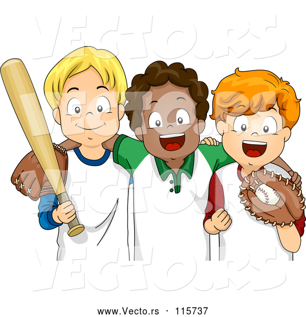 Vector of Happy White and Black Children with Baseball Gear