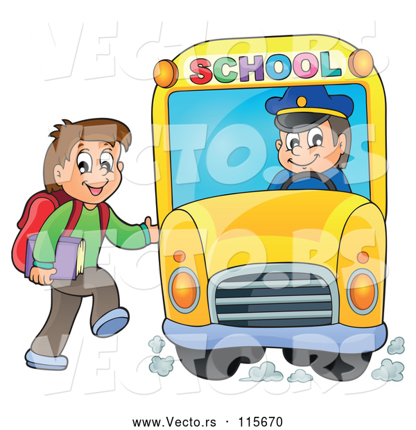 Vector of Happy White Boy Loading a School Bus