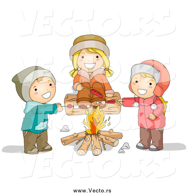 Vector of Happy White Children Roasting over a Campfire
