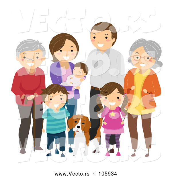 Vector of Happy White Family with Grandparents and a Dog