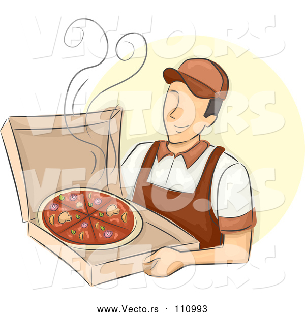 Vector of Happy White Male Pizza Delivery Guy Holding a Hot Box