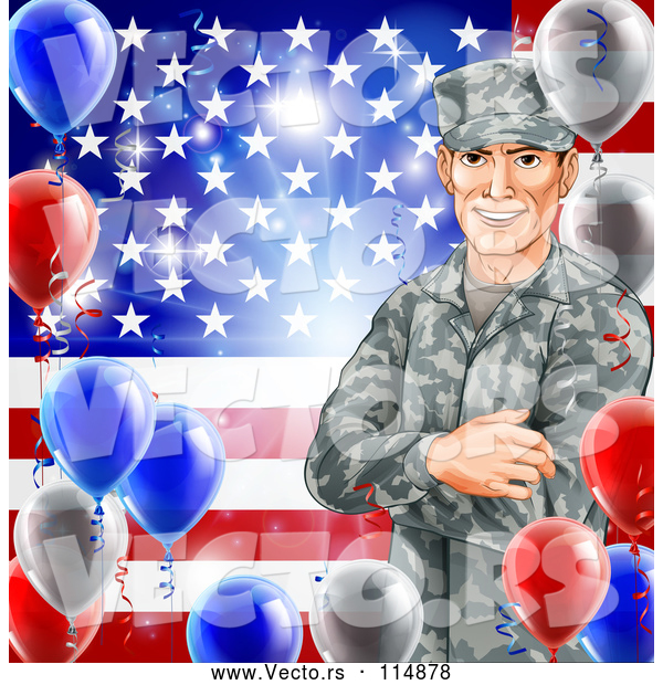 Vector of Happy White Military Veteran Man over an American Flag and Balloons