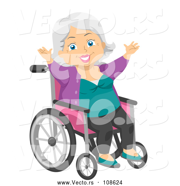 Vector of Happy White Senior Woman Cheering in a Wheelchair