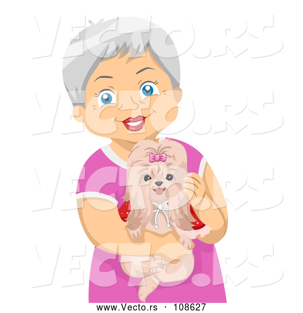 Vector of Happy White Senior Woman Holding Her Shihtzu Dog