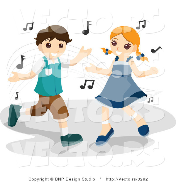Vector of Happy Young Boy and Girl Dancing with Music Notes