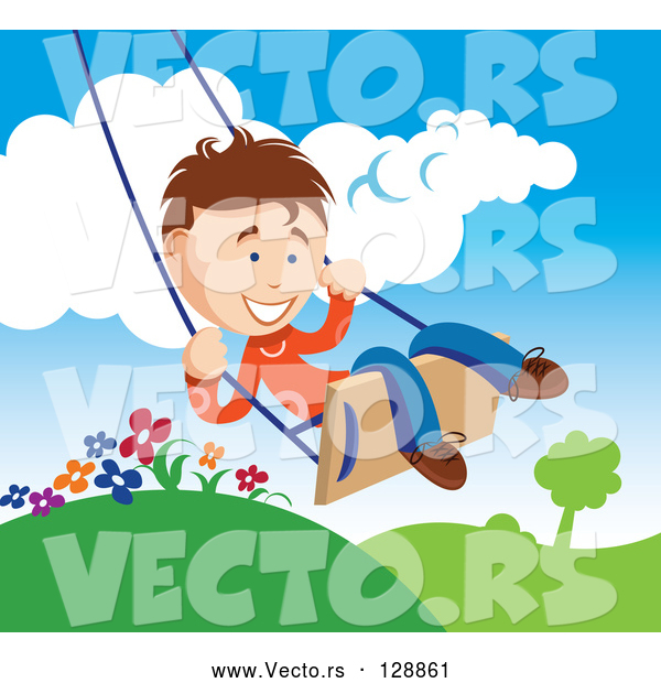Vector of Happy Young Boy Swinging Outdoors on a Summer Day