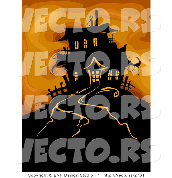 Vector of Haunted House on a Hill over Spooky Orange Background