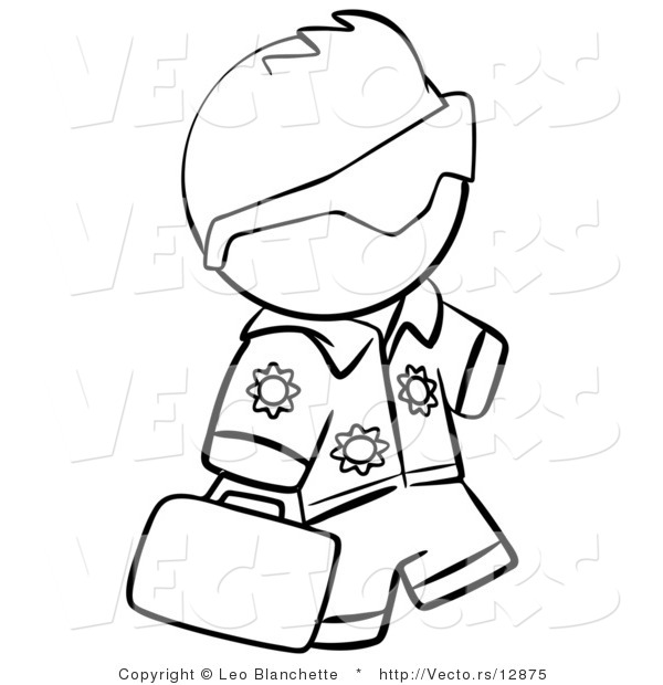 Vector of Hawaiian Tourist Person Carrying a Bag - Coloring Page Outlined Art