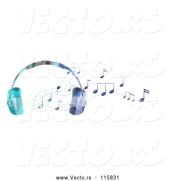 Vector of Headphones and Music Notes