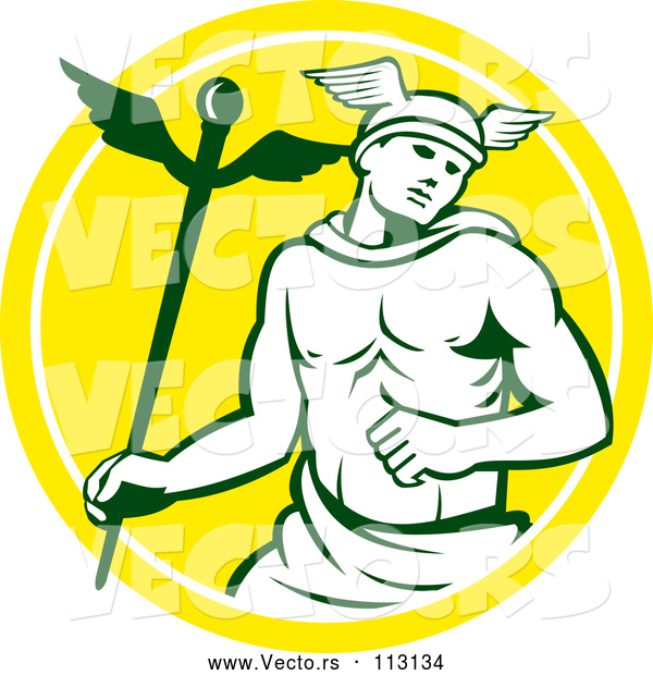 Vector of Hermes Man with a Caduceus - Yellow and White Circle Theme
