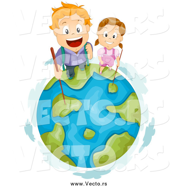 Vector of Hiking Red Haired White Kids on Top of Earth
