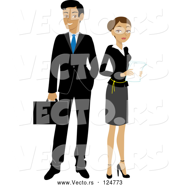 Vector of Hispanic Businessman and Lady