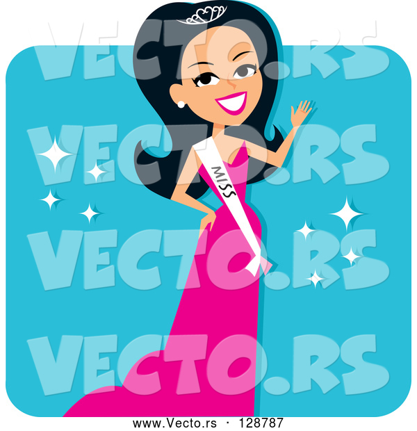 Vector of Hispanic Pageant Contestant Wearing a Sash and a Pink Evening Gown