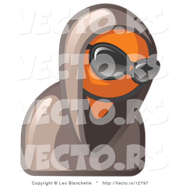 Vector of Hooded Orange Guy Wearing Sunglasses