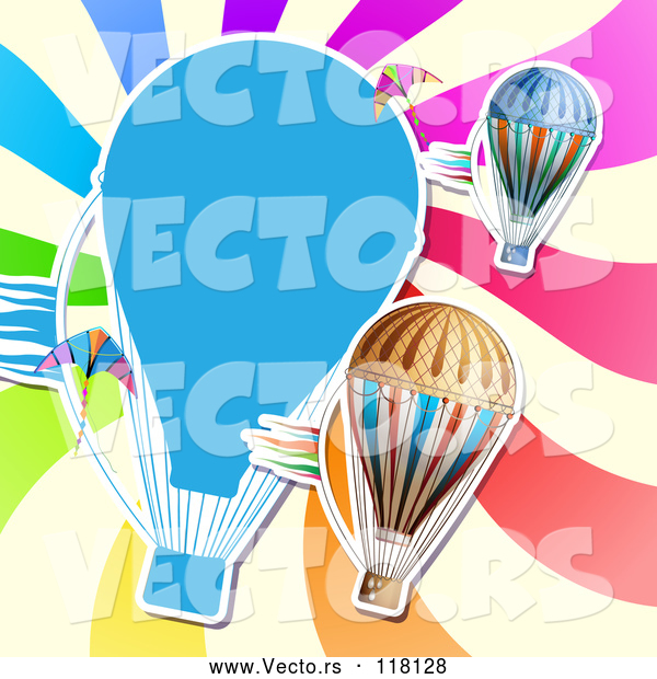 Vector of Hot Air Balloon Kite and Colorful Ray Background
