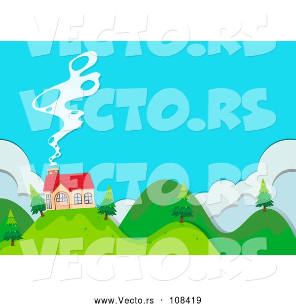 Vector of House on a Hilly Property