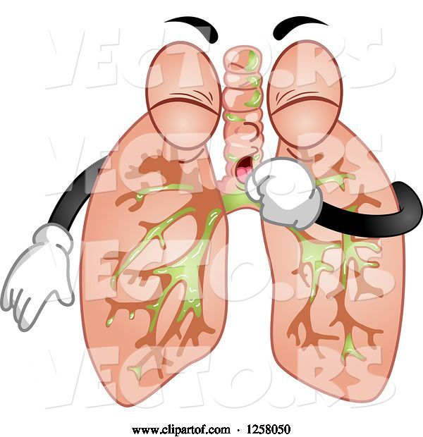 Vector of Human Lungs Character Coughing