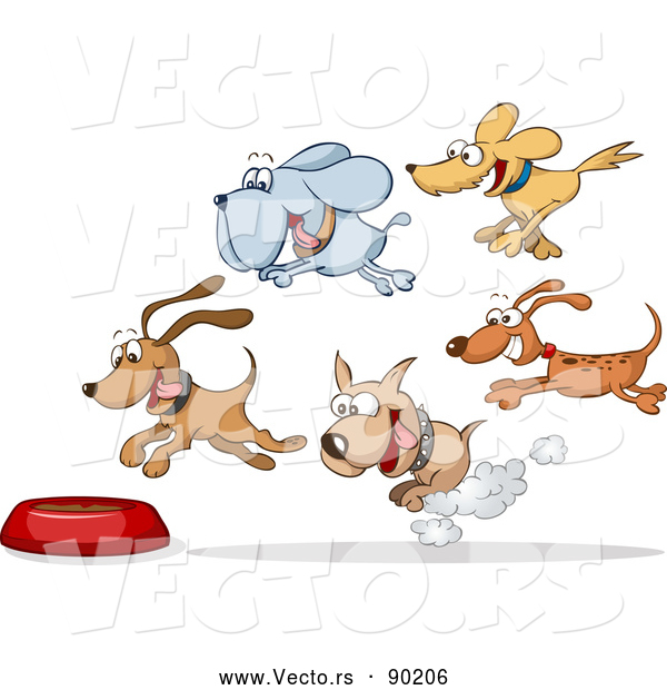 Vector of Hungry Cartoon Dogs Running Towards Food Bowl