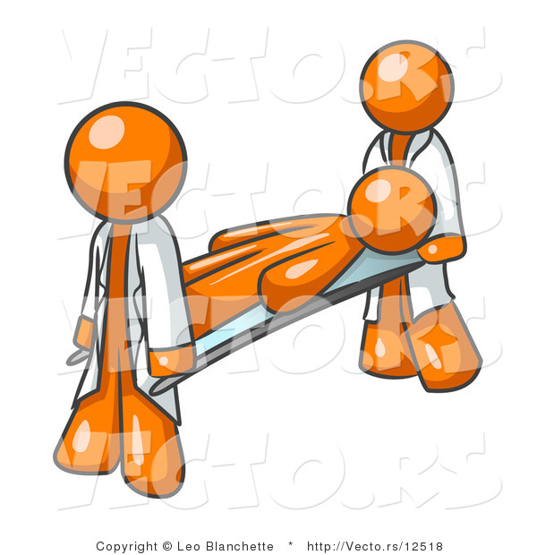 Vector of Injured Orange Guy Being Carried on a Gurney to an Ambulance or into the Hospital by Two Paramedics After an Accident or Health Problem