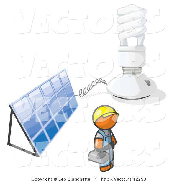 Vector of Installer Orange Guy by an Energy Saver Light Bulb and Solar Panel