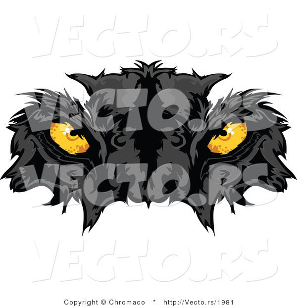 Vector of Intimidating Yellow Black Panther Eyes Staring