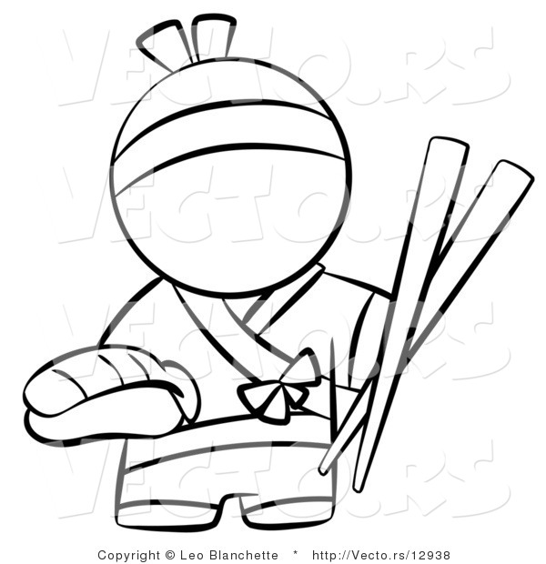 Vector of Japanese Chef with Chopsticks and Sushi - Coloring Page Outlined Art
