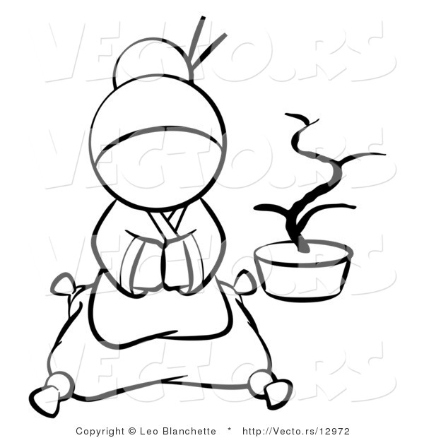 Vector of Japanese Geisha Sitting on a Pillow - Coloring Page Outlined Art