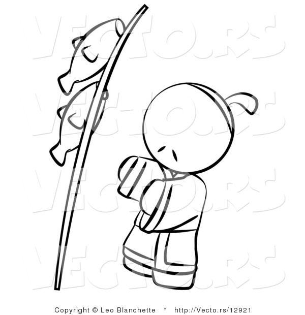 Vector of Japanese Person with Fish on a Pole - Coloring Page Outlined Art