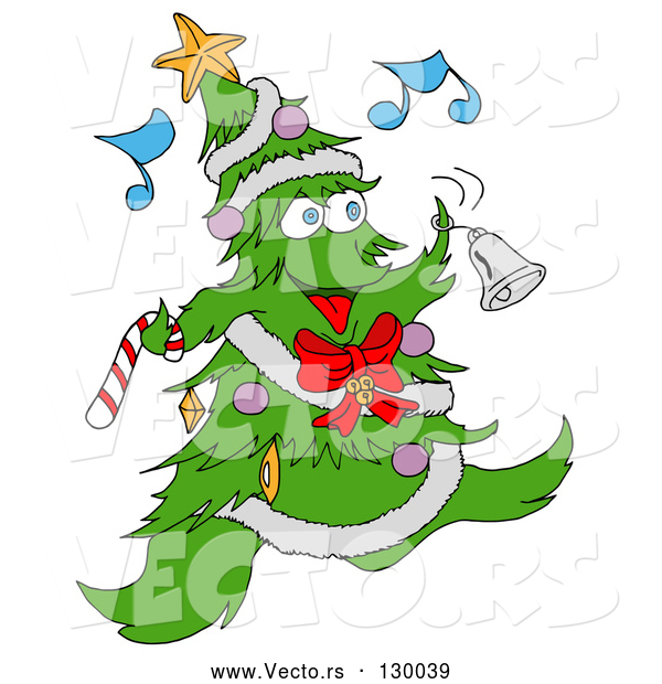 Vector of Jolly Christmas Tree Character with Ornaments, a Star and Garland, Dancing and Ringing a Bell While Listening to Music