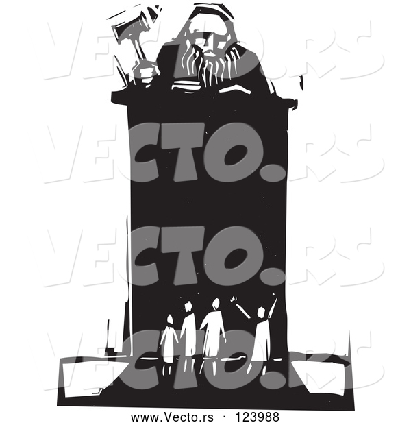 Vector of Judge Holding a Gavel at a Podium in Front of Tiny People Black and White Woodcut