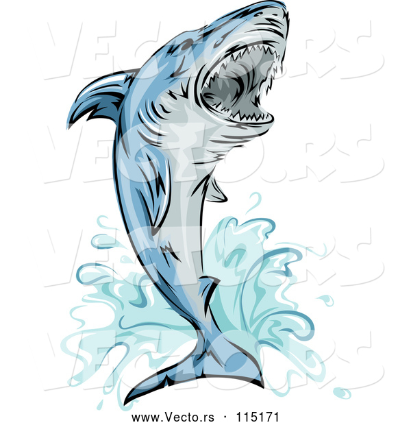 Vector of Jumping Attacking Shark Mascot