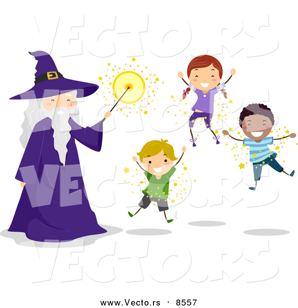 Vector of Kids and a Wizard Floating