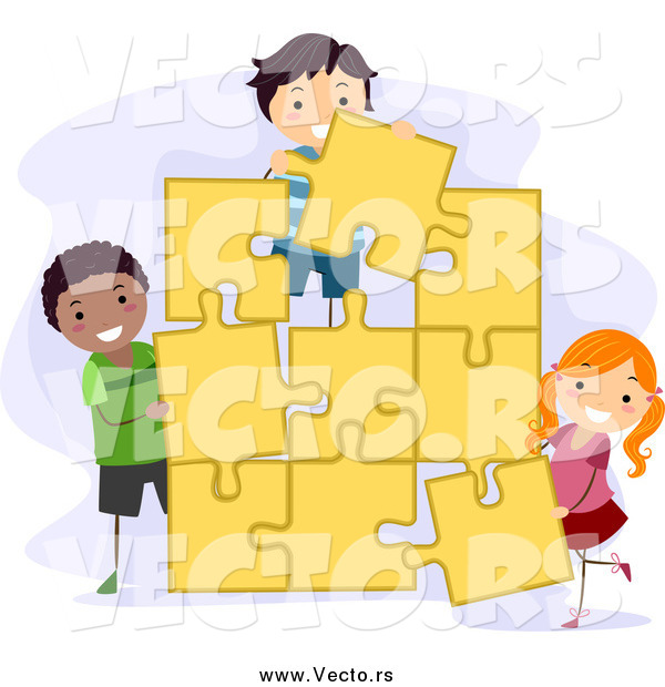 Vector of Kids Assembling a Large Jigsaw Puzzle