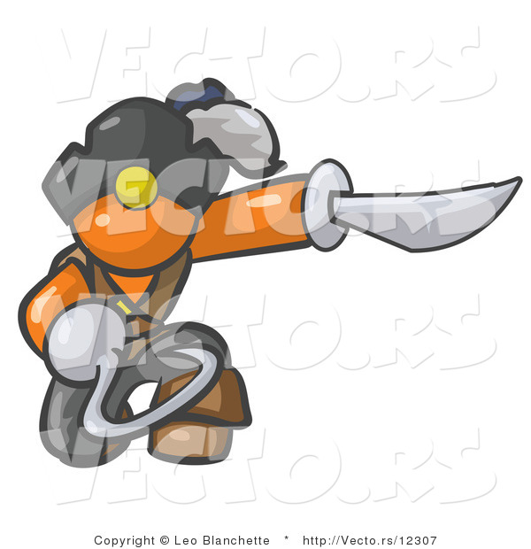 Vector of Kneeling Orange Guy Pirate with a Hook Hand and a Sword