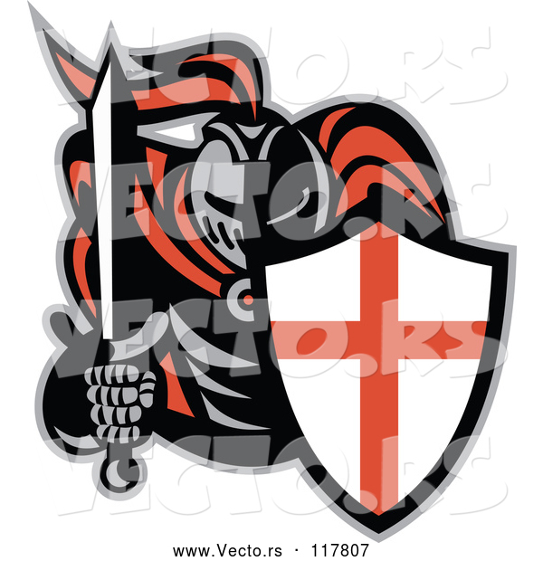 Vector of Knight in Full Armor, Holding a Sword and English Shield
