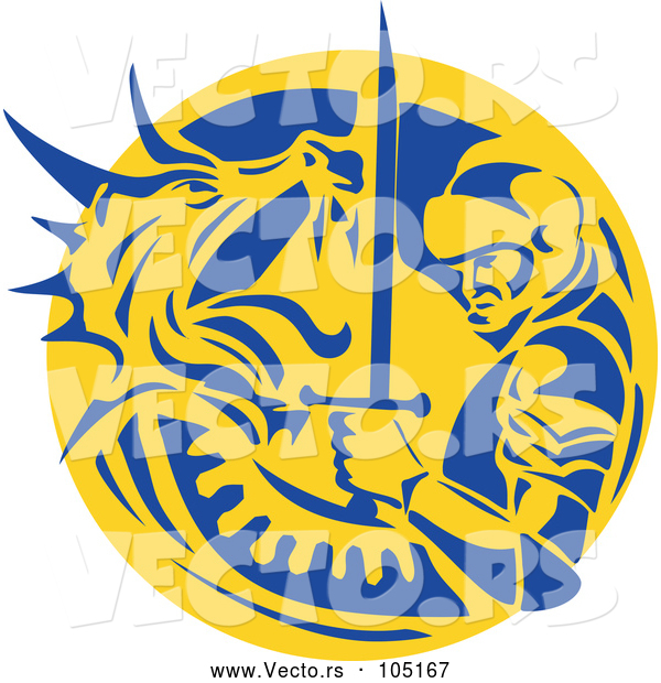 Vector of Knight or Saint George Fighting a Dragon in a Yellow and Blue Circle