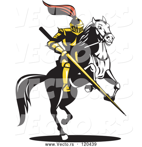 Vector of Knight with a Lance on a Jousting Horse 2