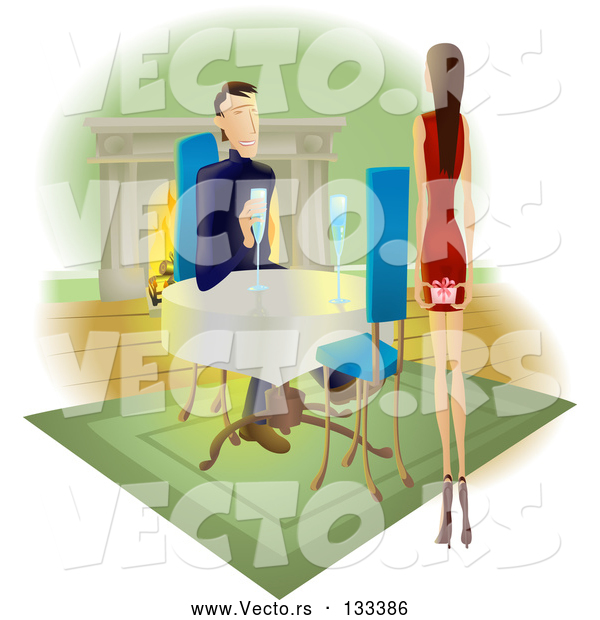 Vector of Lady Approaching a Guy with a Gift Behind Her Back