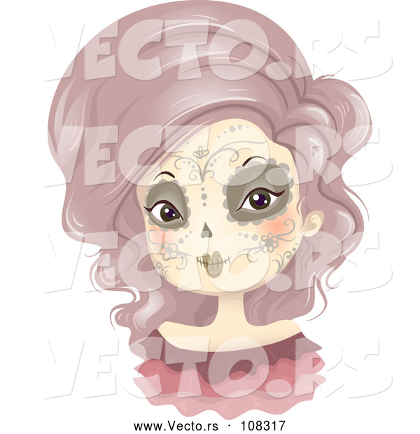 Vector of Lady in Day of the Dead Makeup