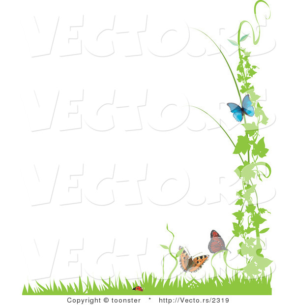 Vector of Ladybug with Butterflies and Vines with Grass - Background Border Design Element