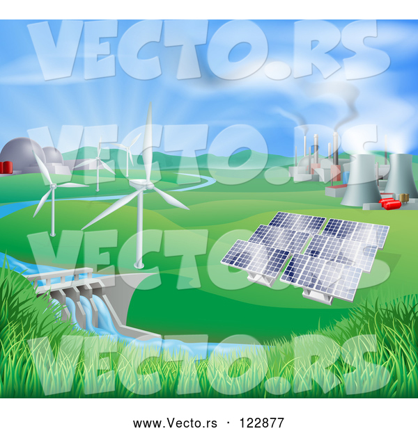 Vector of Landscape of Wind Turbine Nuclear Fossil Fuel Coal Solar Panels and Hydro Electric Power Generation Plants