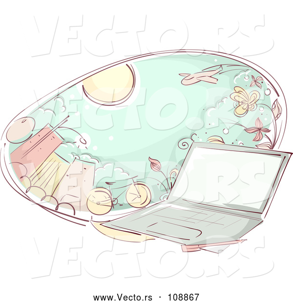 Vector of Laptop Computer and an Oval of City and Transportation