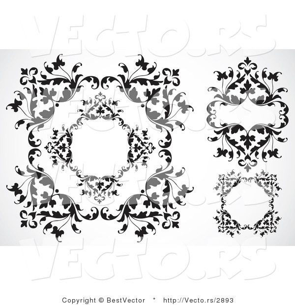Vector of Leafy Border Frames - Black and White Digital Collage
