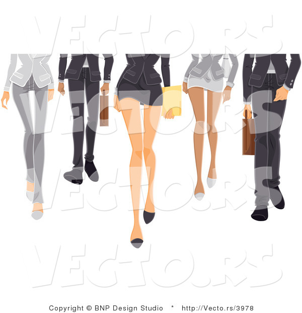 Vector of Legs of a Business Girls and Boys Walking Forward
