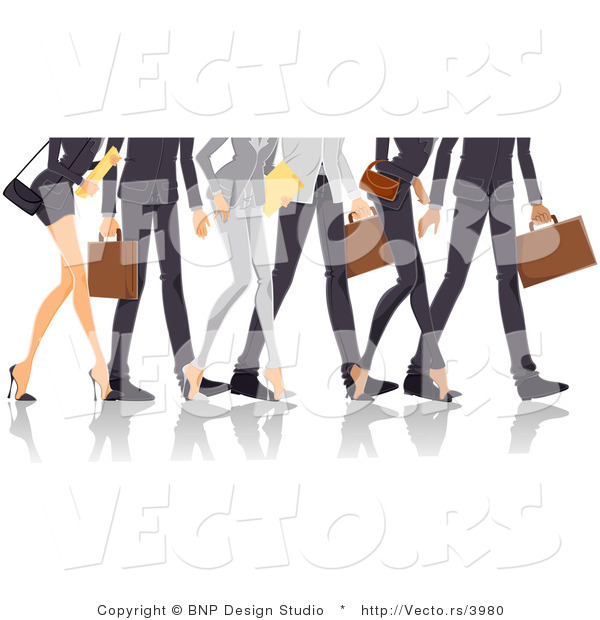 Vector of Legs of Professional Guys and Ladies Walking