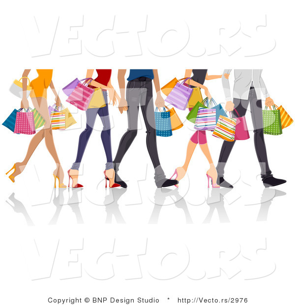 Vector of Legs of Shopping Guys and Girls