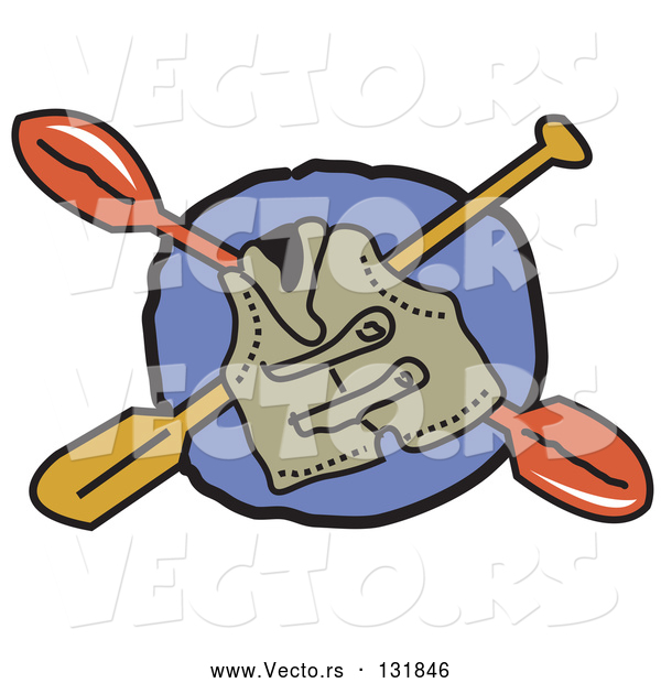 Vector of Life Jacket and Kayak Paddles