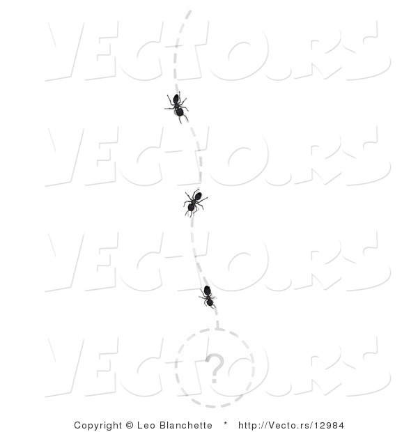 Vector of Line of Ants Following a Path to an Unknown Area Marked with a Questionmark