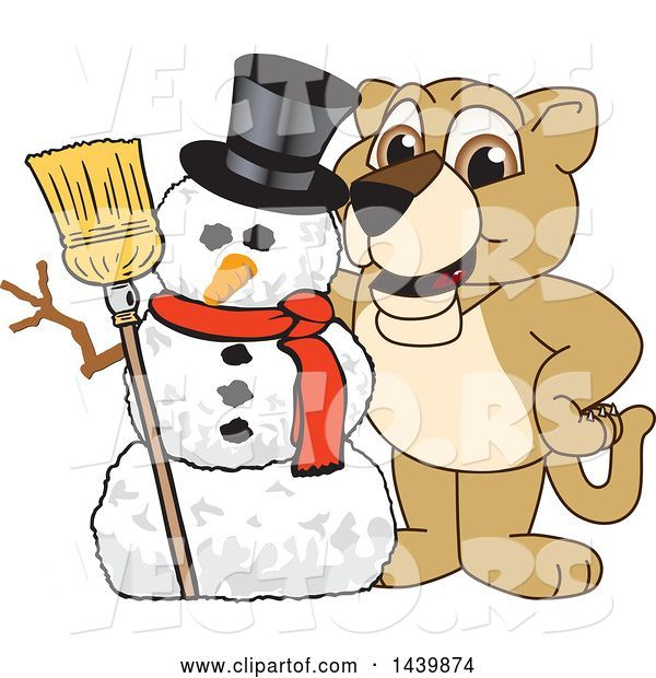 Vector of Lion Cub School Mascot Character with a Snowman